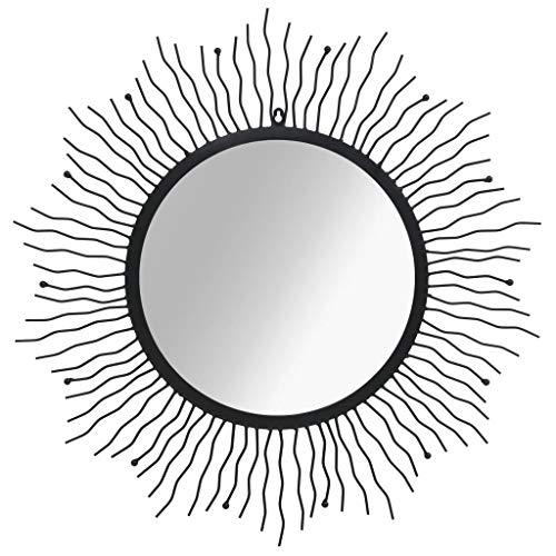 vidaXL Espejo Pared 80 cm Negro Forma Sol Radiante Decoración Hogar Vestidor