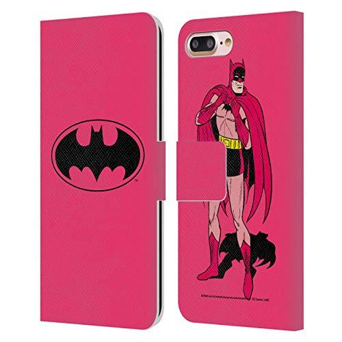 Head Case Designs Oficial Batman DC Comics Rosa Logotipos Carcasa de Cuero Tipo Libro Compatible con Apple iPhone 7 Plus/iPhone 8 Plus