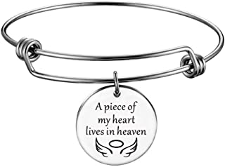 A Piece of My Heart Lives in Heaven Memorial Bangle Charm Bracelet Jewelry Charity Fundraiser