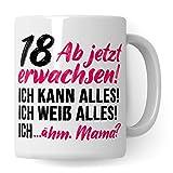 Pagma Druck 18. Geburtstag Mädchen Tasse, Geschenk 18 Geburtstag Tochter, Becher 18 Jahre alt...