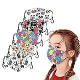 5 Stück Mundschutz Kinder Baumwolle Cartoon Druck Verstellbarer Hängendes Ohr StaubschutZ, Atmungsaktive Waschbar Half Face Halstuch für Jungen und Mädchen (A)