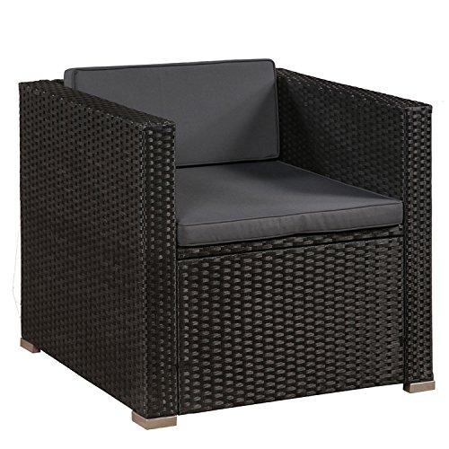 ArtLife Polyrattan Lounge Punta Cana L schwarz mit Bezügen in Dunkelgrau | Gartenmöbel-Set mit Sofa, Hocker und Tisch für 4-5 Personen - 4