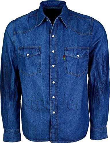 Duke London Chemise de camionneur/western en jean délavé « stone washed » Manches longues - Bleu - XX-Large