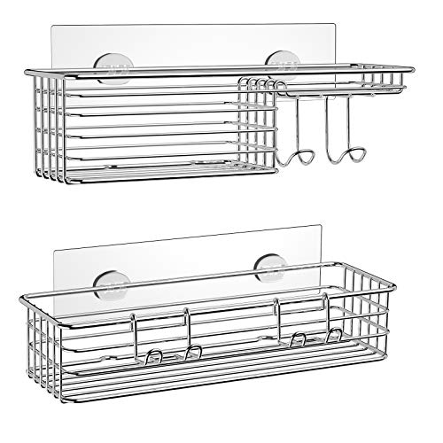 SMARTAKE 2-Pack Shower Caddy, Combined Bathroom Shelf with Soap Dish and Hooks for Hanging Razor Brush Sponge, Wall Mounted Rustproof Basket with Adhesive, No Drilling, 304 Stainless Steel, Silver