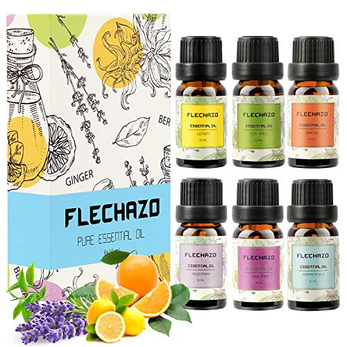 Essential Oils Set 100% Pure Therapeutic Grade Patchouli Oil Essential Oils for Aromatherapy Diffuser & Topical Use Therapeutic Grade Oils, lavender, lemon, orange, eucalyptus and tea tree etc (6x10m)