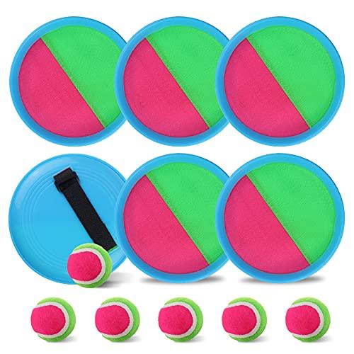 gracosy Klettballspiel Catch Ball Set Neopren Klettball Set wurfspiele für draußen Ballspiele Spielbälle Fangballspiel mit 2 verstellbares Paddel 2 Bälle 1 Aufbewahrungstasche, für Kinder Erwachsene