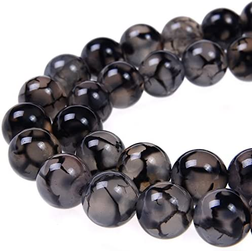 PLTbeads 10mm Black White Dragon Agate Smooth Round Shape Natural Gemstone Loose Beads For 1 product image