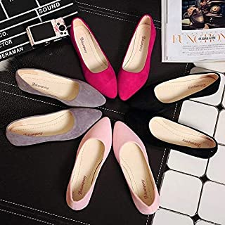 Genuine Leather Women Flats Shoes Casual Driving Peas Shoes.(Hot Pink,39)