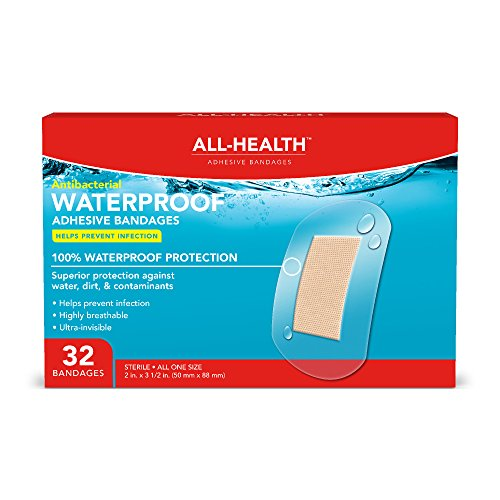 All Health Clear Waterproof Antibacterial Adhesive Bandages, 2 in x 3 1/2 in, 32 ct | Helps Prevent Infection, 100% Waterproof for First Aid and Wound Care