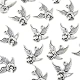 Honbay 50PCS Antique Silver Alloy Eagle Charms Pendants for Jewelry Making or DIY Crafts