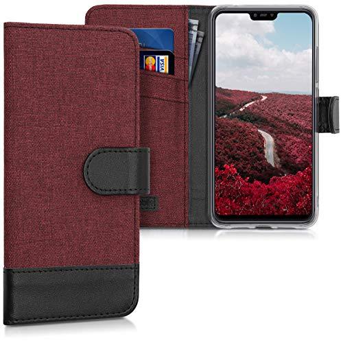 kwmobile Xiaomi Mi 8 Lite Hülle - Kunstleder Wallet Case für Xiaomi Mi 8 Lite mit Kartenfächern & Stand - Dunkelrot Schwarz