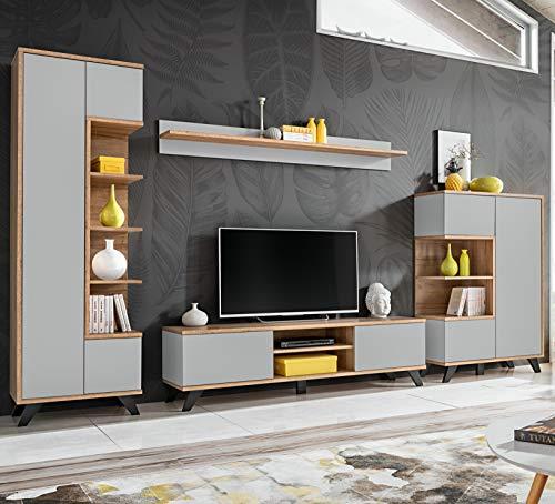 ASM Bogotá - Mueble de pared para sala de estar, 330 cm de ancho, mueble de TV, estante para exhibición, puertas y patas negras