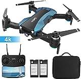 Drone GPS avec 4K 720P caméra HD, Hélicoptère GPS FPV RC avec Caméra 120° Grand Angle Réglable, Retour Automatique à la Maison, Suivez-Moi, 2 Batterie et Une Valise de Transport,Bleu