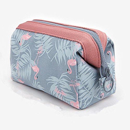 Trousse de Toilette,Portable Multifonction Sacs Cosmétique en Coton de Polyester Imperméables Trousse Maquillage Flamingo pour Femmes Filles