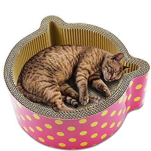 Unlxn Juguetes para Mascotas Papel Corrugado Orejas De Gato Gatos con Forma Tablero De Rascar Cartón De Rascador Cartón De Casa para Gatos Adiestramiento De Mascotas 15 * 30 * 30 Cm.