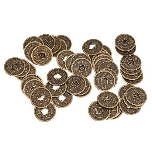 Opuntia Mo Lot de 50 pièces de monnaie chinoise porte-bonheu