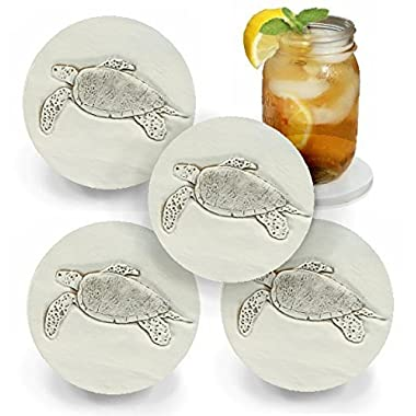 Drink Coasters by McCarter Coasters, Sea Turtle, Absorbent, Light Beige 4.25 inch (4pc)