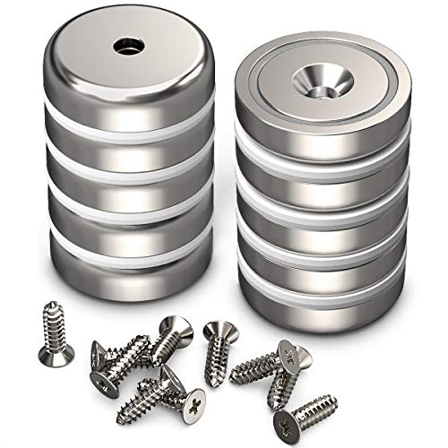 GREATMAG Cup Magnets, Industrial Strength Round Base Magnets, 100 lbs Holding Force, 1.26 Inches Diameter, Countersunk Hole, Pack of 10