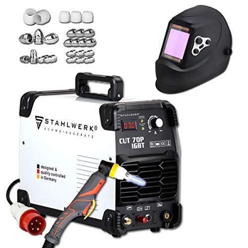 STAHLWERK CUT 70 P IGBT Vollausstattung Plasmaschneider mit 70 Ampere, Pilot-Zündung, bis 25 mm Schneidleistung, für Flugrost geeignet, weiß, 7 Jahre Garantie