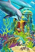 GooEoo 8×10フィート漫画の水中写真の背景鯨とウミガメおとぎ話城海底世界写真の背景城ベビーシャワー子供子供誕生日パーティー写真ブースの小道具