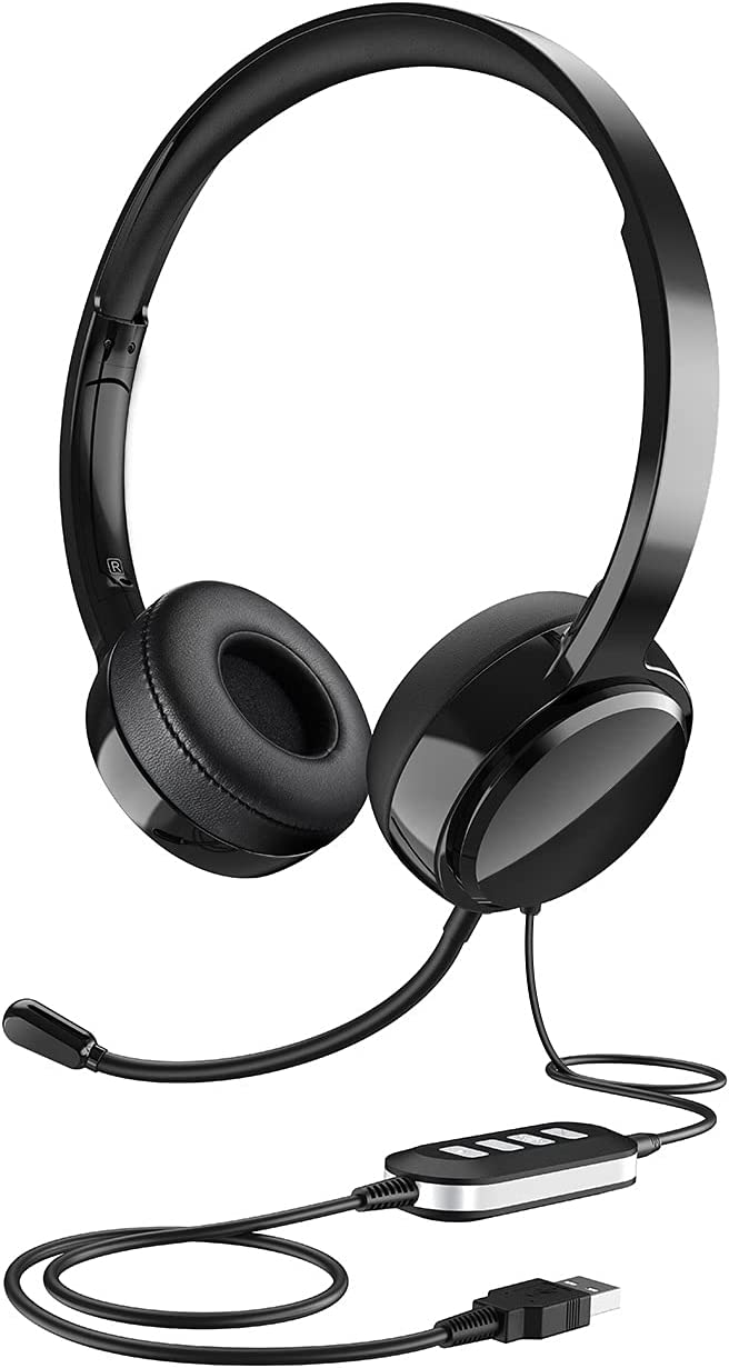 USB Headset with Microphone, Noise Canceling Computer Headphones with Flexible Mic, Lightweight 3.5mm Cell Phone Headset with in-line Control, Comfort-fit PC Headset for Home Office, Remote Learning
