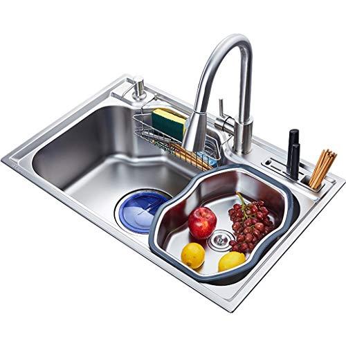 Huishoudelijke Standaard Keukenspoelbak Duurzaam 1 Mm Voedselkwaliteit RVS 680mm*450mm*230mm spoelbakken 0703