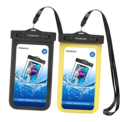 MoKo Waterproof Phone Pouch [2 Pack], Underwater CellPhone Case Dry Bag with Lanyard Armband Compatible with iPhone 11/11 Pro Max, X/Xs/Xr/Xs Max, 8/7/6s Plus, Samsung S10/S9 Plus, S10e, S20, Note 10 (Nokia Lumia 920 Black Screen Of Death)