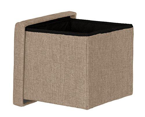 Brandsseller Taburete con espacio de almacenamiento, plegable, con tapa, acolchado, tela, beige,...