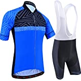 BXIO Ropa de Ciclismo para Hombres Mangas Cortas Transpirable 5D Gel Pad Culotte con Babero Ropa de Ciclismo de Secado rápido 207 (Blue(207,Bib Shorts), 4XL)