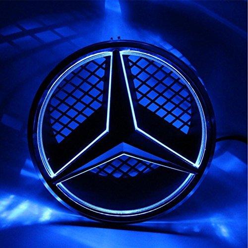 Cszlove Car Front Grilled Star Emblem LED Illuminated Logo Center Badge Lamp Light Works with Mercedes Benz 2008-2013 C-Class W204, 2006-2012 GLK-Class W204, 2005-2010 B-Class W245 - Blue Light