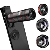 Phone Camera Lens, KNGUVTH 5 in 1 Cell Phone Lens Kit - 12X Zoom...