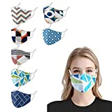 Studio 21 Graphix Fashion Designer Cloth Face Covering forWomen Men, Cute Printed Washable Reusable Geometry Mouth Fabric Masks with Adjustable Ear Loops (7Pack-Print C)