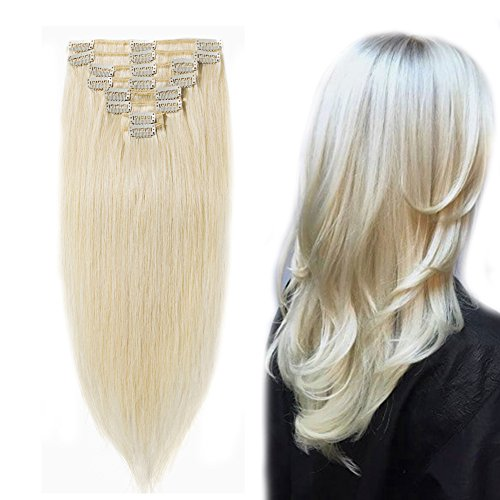 """Clip in 100% Remy Human Hair Extensions 8""""-24"""" Grade 7A Quality Full Head 8pcs 18clips Long Soft Silky Straight for Women Fashion 13""""/13 inch 80g,#60 Platinum Blonde"""