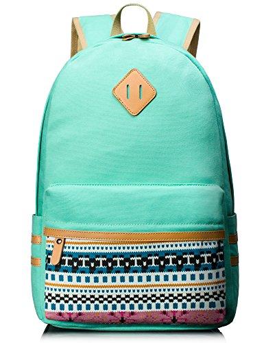 Leaper Damen/Herren Vintage Canvas Schultasche Rucksack für Outdoor Camping Picknick Ausflug Sports Uni(Licht Blau, Groß)