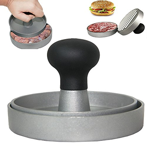 CHEFHUB Extra Heavy 4.5'' Burger Press-Large Hamburger Patty Maker for Stuffed Burgers 300g, Sliders and 1/3 or 1/4 Pound Patties - Non-Stick Coating-BBQ Grill Tool Accessories-Ideal