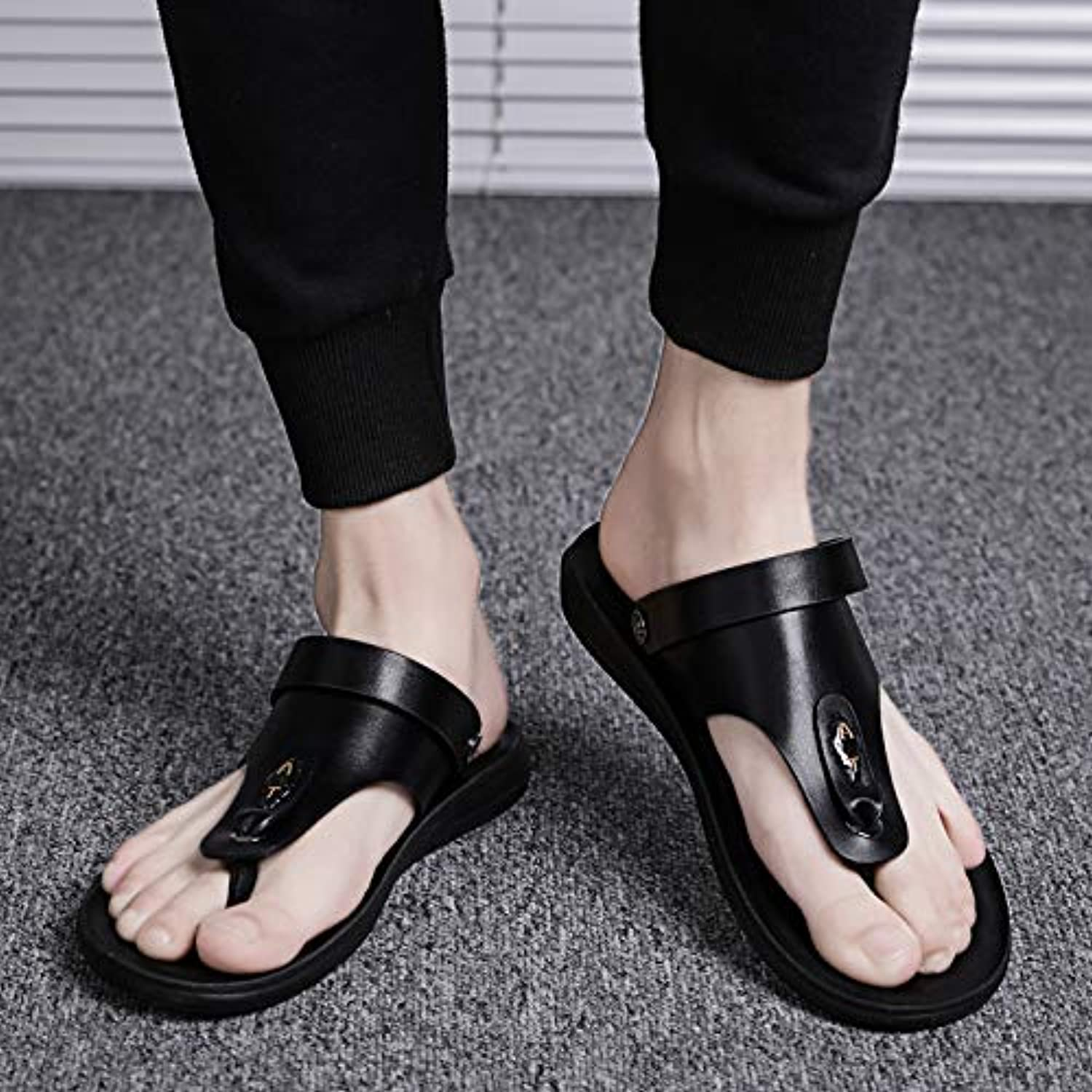 Shukun Men's flip flops Summer Men'S Sandals Slippers Flow Flip Flops Men'S Non-Slip Beach shoes Toe Sandals Men'S Dual-Use
