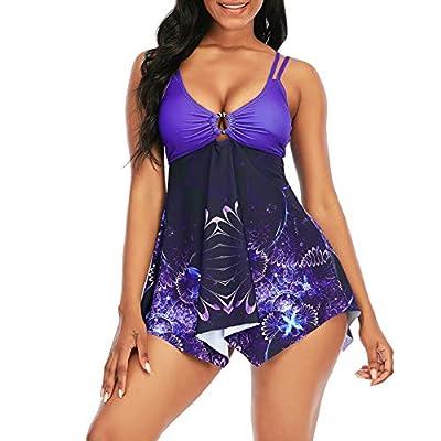 Shaoroua Womens Tankini Swimsuits Modest Printed Swimdress and Shorts Two Piece Bathing Suits Summer Swimwear