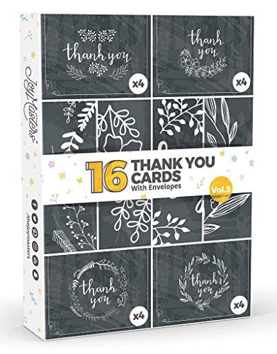 Joy Masters - 16 Tarjetas de Agradecimiento Estilo Pizarra Negra - Vol. 3