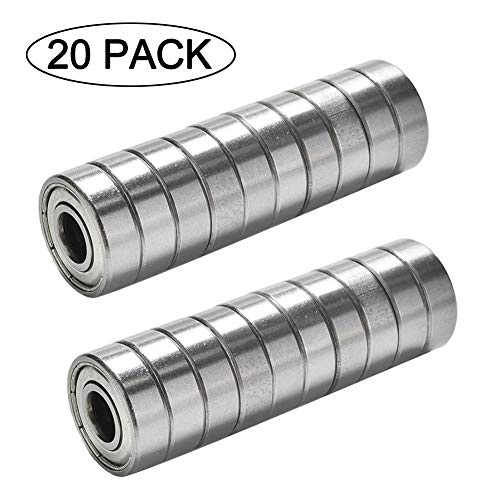 TUZUK 20 x Rodamientos de bolas en miniatura 608zz Roller Skate 8 * 22 * 7mm para impresora 3D