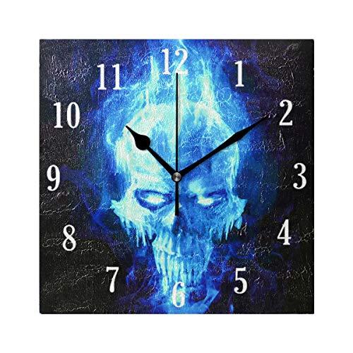 MNSRUU Stilvolle Moderne Wanduhr rund brennend blau Totenkopf Uhr innovativ leise Nicht tickend Deko Uhr für Wohnzimmer, Schlafzimmer, Zuhause, Büro