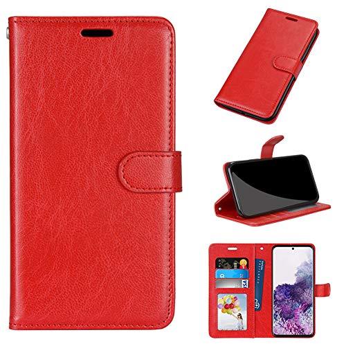 MINGYOUNG Cuero Funda Compatible con BQ Aquaris U/U Lite,Flip Carcasa con Tapa Tarjetas Magnético Cuero Soporte Plegable Ranuras Cartera (Rojo)