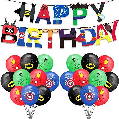 Yisscen globos de fiesta de superhéroe, globos de decoración de cumpleaños, pancartas de guirnaldas de cumpleaños de superhéroe, globos de superhéroe para decoraciones de fiesta de cumpleaños de niños