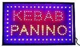 Letrero luminoso de LED con inscripción KEBAB PANINO 55 x 33 x 2,5 cm