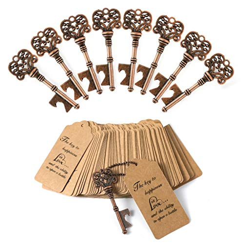 DerBlue 60 PCS Key Bottle Openers,Vintage Skeleton Key Bottle Opener, Wedding Favors Key Bottle Opener Rustic Decoration with Escort Tag Card(Copper)