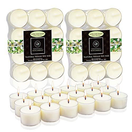 ParkAvenue EcoCandles EcoAroma Velas, Premium Natural Coco Veggie – Cera de soja y aceites aromáticos (blanco Jumbo 8 horas, paquete de 48 velas)