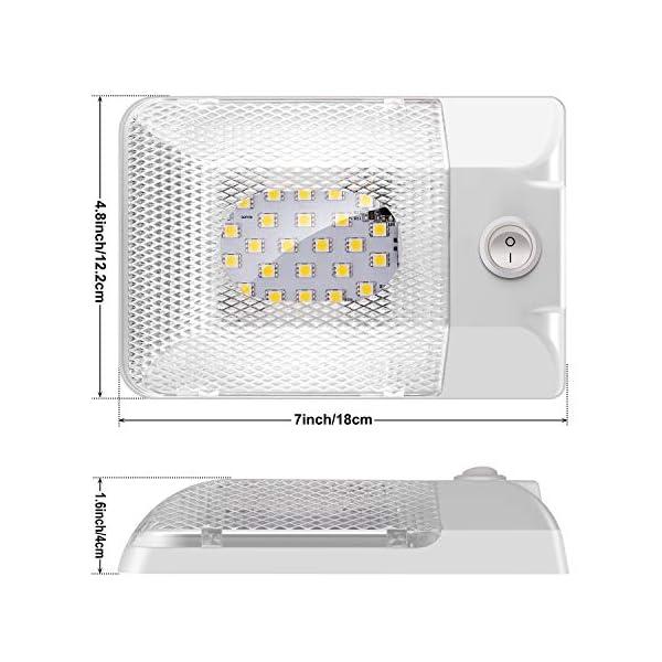 Kriogor-LED-Innenbeleuchtung-Auto-2x24LED-300LM-RV-KFZ-Deckenleuchten-mit-ONOFF-12V-Schalter-fr-Camping-Anhnger-Wohnmobil-Boot-LKW-Wohnwagen
