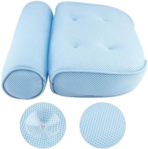 DALUXE Bain Oreiller - Oreiller de Bain Souple pour l'appui arrière du Cou, Cou, de l'air Fibre Spa Repose-tête matériau de Rembourrage en Mousse (Couleur Blanche),Bleu