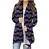 Women Cute Graphic Cardigan Halloween Long Sleeve Open Front Pumpkin Ghost Lightweight Knit Coat Plus Size Blouse Tops Purple