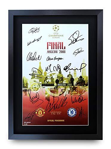 HWC Trading A3 FR Manchester United 2008 Champions League Final Program Poster The Team signiertes Geschenk gerahmt A3 gedrucktes Autogramm Fußball Geschenke Druckbild Bild Display