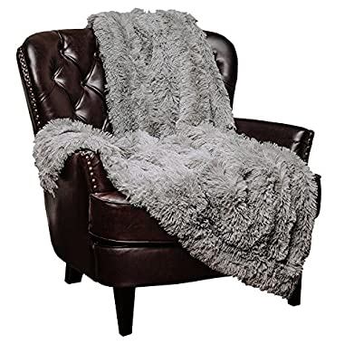 Chanasya Super Soft Shaggy Chick Longfur Throw Blanket - Snuggly Fuzzy Faux Fur Lightweight Warm Elegant Cozy Sherpa - For Couch Bed Chair Sofa Daybed - 50 x 65  - (Machine Washable) - Grey